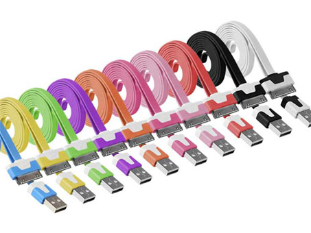 Flat USB 2.0 Sync Data Charging Cable Cord For iPhone 4S 4 5 iPad2 3